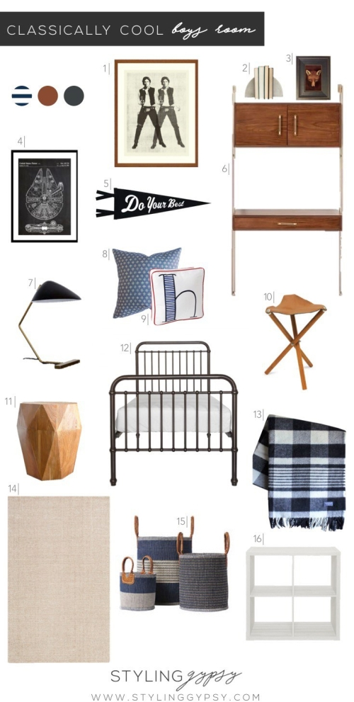 Classically Cool Boys Room design board featuring iron bed, wood wall desk, blue plaid throw blanket, star wars art prints, blue storage baskets and ikea kallax shelves #boysroom #boysroomideas #boysroominspiration #starwarsthemedroom #boysroomdecor #kidsroom