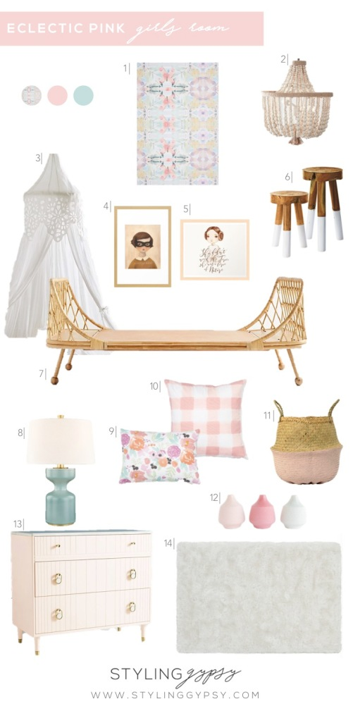 Styling Gypsy | eclectic pink girls room design board featuring a rattan daybed, buffalo check pillows, floral pillows, wood bead chandelier, aqua table lamp, graphic wallpaper, shag rug and a pink dresser. #girlsroom #girlsroomideas #kidsroom